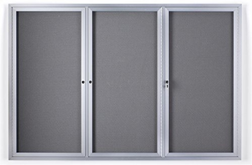 6 x 4 Foot Enclosed Bulletin Board with Fabric Interior, 3 Separate Locking Swing-Open Doors, 72 x 48 Inch Wall-Mounted Tack Board - Silver Aluminum Frame with Light Gray Interior