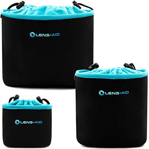 Lens-Aid Neopren Kamerabeutel mit Fütterung zum Schutz der Kamera-Ausrüstung, Kameratasche für Rucksack und Handtasche als Einschlagtuch-Ersatz (3er Set)
