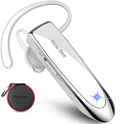 New bee Bluetooth Headset V5.0 Handsfree Bluetooth Earpiece with 24h talking time and More 60 Days Standby with Headset Case for iPhone, Android and Laptop