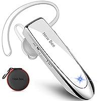 Auriculares Manos Libres, New Bee Auricular Bluetooth Inalámbrico Negocio con Micrófono Auricular para iPhone, Samsung, Huawei, Xiaomi, HTC, LG, Sony, PC 60 Días en Espera (Blanco)