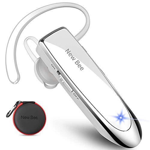 New Bee Bluetooth Headset Wireless Freisprech Telefon Bluetooth-Headset mit Mikrofon für iPhone Samsung Huawei mit 60 Tage Standby Weiß
