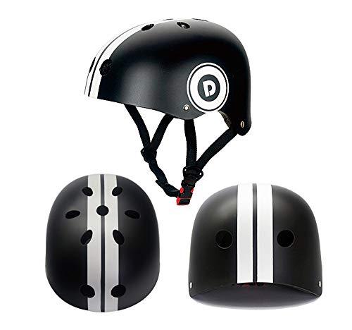 HBRE Skateboard-Helm,Scooter-Helm,GrößE 50-60cm,Komfortable Verstellbare Mit Sicherheitsband Schutzhelm FüR Laufrad, Roller, Skateboard Und Fahrrad,Black,S