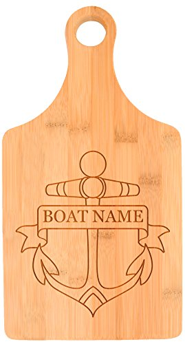 Customized Boating Gift Nautical Boat Name Anchor Personalized Paddle Shaped Bamboo Cutting Board