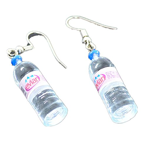 Ownsig Women Bohemian Water Bottle Pendant Earrings Drop Dangle Earrings Creative Unique Red pair