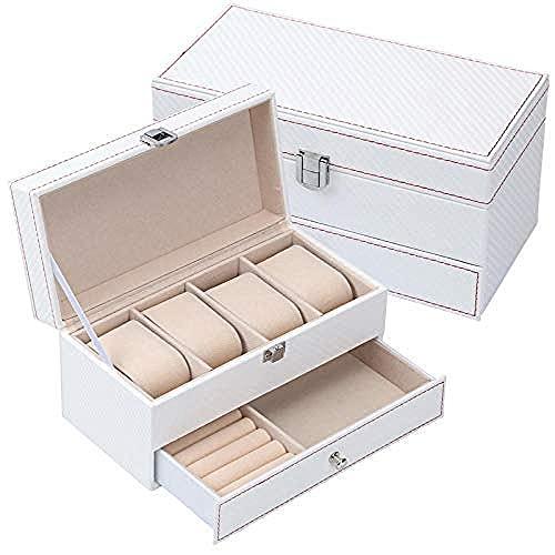 T.T-Q 4 Caja de Reloj de Doble Capa Cajas para Relojes Collar Gafas Caja de Almacenamiento joyero para Almacenamiento y visualización 22 * 11 * 11cm-2