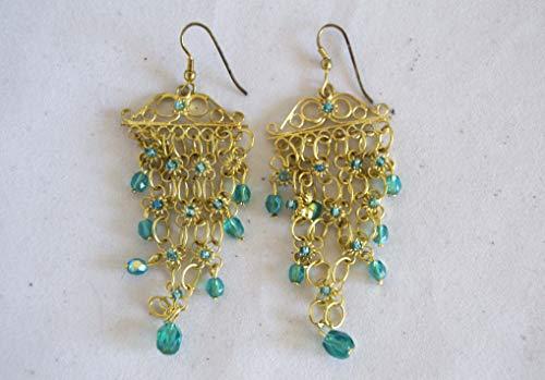 Boucles d'oreilles dorées 8 cm Bleu et rose -