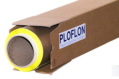 PLOFLON PTFE Teflon Folie, Teflonfolie, PTFE-Folie selbstklebend, 1000mm x 1000mm, Gesamtstärke mit Silikonkleber 0,125mm, antihaftende Oberfläche, Hitzebeständigkeit bis 260 Grad Celsius.