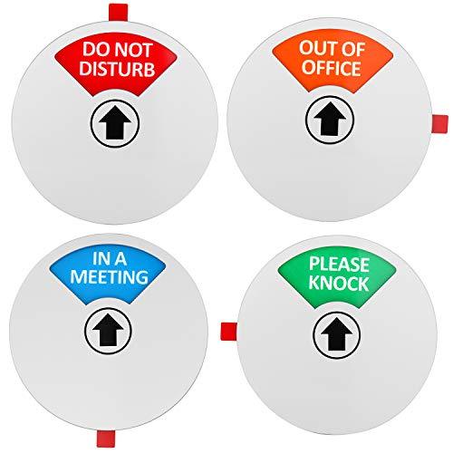 Kichwit Privacy Sign, Do Not Disturb Sign, Out of Office Sign, Please Knock Sign, In a Meeting Sign, Office Sign, Conference Sign for Offices, 5 Inch, Silver