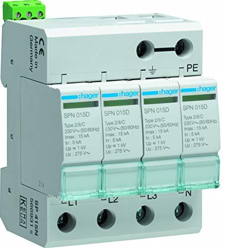 Hager spn415d–Limiter Überspannungsschutz 3-polig + neutral 15KA 440V 60Hz