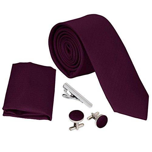 Bundle Monster Mens Skinny Tie Necktie 4pc Set Accessory for Weddings Maroon