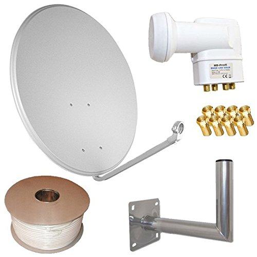 netshop 25 HD Sat Anlage 80cm Spiegel + Quad LNB für 4 Teilnehmer + 50m Kabel + 40cm Wandhalter (3 Farben wählbar)