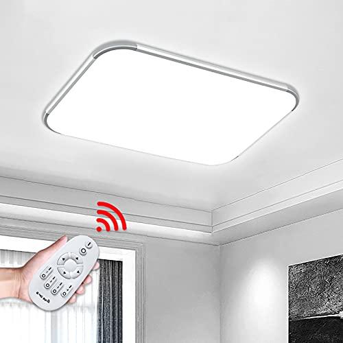 Aufun Plafón LED 48W regulable, plafón para recibidor, cocina, salón, oficina, lámpara moderna, clase de protección IP44, 650X430 mm, regulable con mando a distancia incluido