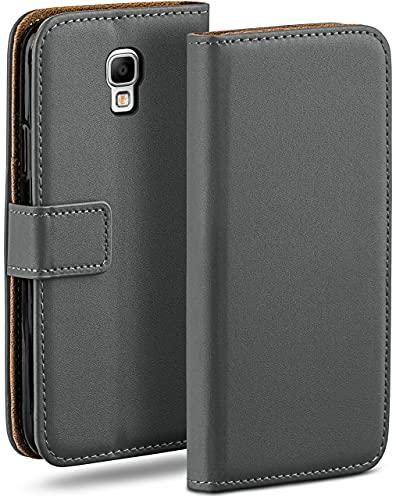 moex Klapphülle kompatibel mit Samsung Galaxy Note 3 Neo Hülle klappbar, Handyhülle mit Kartenfach, 360 Grad Flip Hülle, Vegan Leder Handytasche, Dunkelgrau