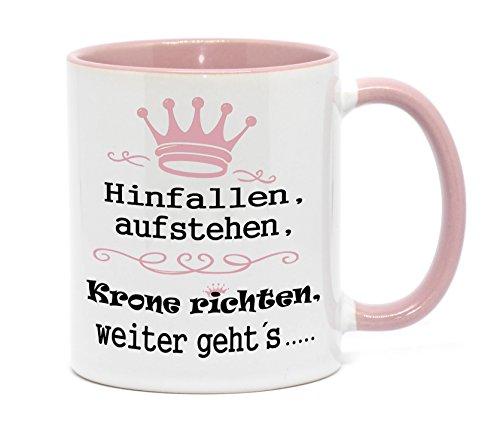Nice-Presents Tasse Hinfallen, aufstehen, Krone richten, weiter geht´s - beidseitig Bedruckt, in hochwertiger Qualität. Witzige Kaffeetasse als Geschenk. (A-Rosa)