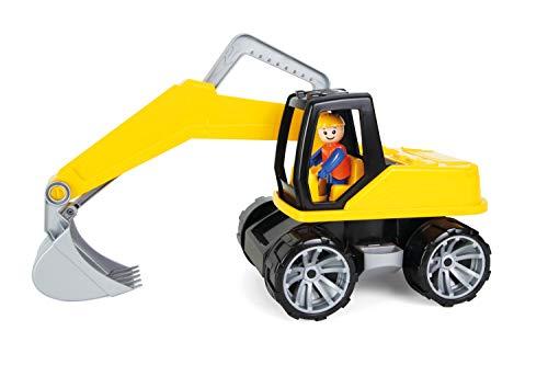 Lena 4411 x Truxx Bagger, Baustellenfahrzeug ca. 44 cm, robuster Schaufelbagger mit beweglichem Baggerarm und vollbeweglicher Spielfigur, Sandbagger für Kinder ab 2 Jahre, Spielfahrzeug in gelb