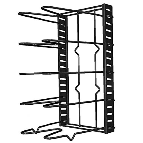 Tuimiyisou Pot Organizador Metal Pan Rack Ajustable del sostenedor Utensilios de Cocina ollas y sartenes Tapa Organizador de la Cocina Estante de Almacenamiento Negro