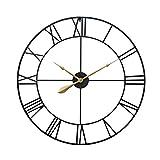 GHJA Orologio da Parete Silenzioso 80 cm Orologio da Parete Grande Senza ticchettio Orologio da Parete in Metallo con Numeri Romani Orologio da Parete Grande Vintage 31,5 Pollici Nero Medio