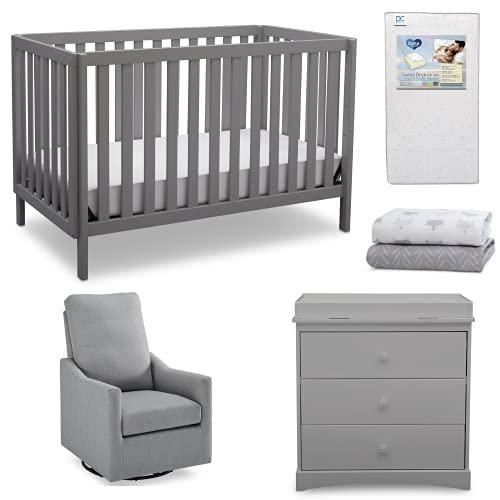 Delta Children Sutton 5-Piece Baby Nursery Furniture Set - Includes: Convertible Crib, Dresser with Changing Topper, Crib Mattress, 2 Crib Sheets & Glider, Grey