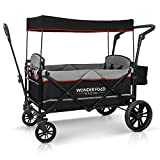 WONDERFOLD X2 2 Passenger Push Pull Twin Double Stroller Wagon with Adjustable Handle Bar, Removable Canopy, Safety Seats with 5-Point Harness, Safety Reflective Strip (Black)