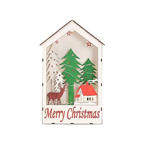 YCEOT Chrsitmas Deco-accu van hout, voor huis, om op te hangen, boom met ramen, ledverlichting, decoratie, nachtlampje voor feestjes binnenshuis