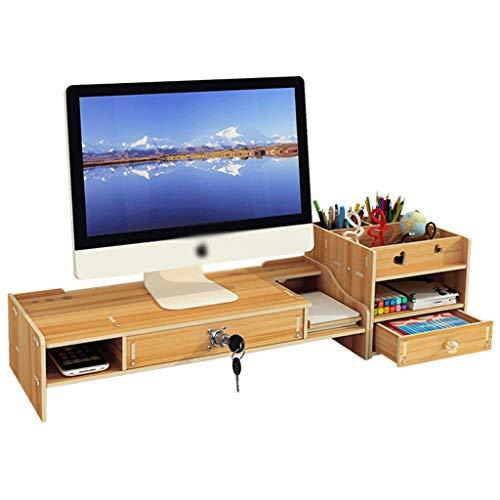 AMYAM Monitorständer,Monitor Stand, Schreibtisch Monitor Stand Riser Computer-Desktop-Organizer mit Storage Drawer 2 Tiere Schirm Riser for Drucker Laptops TV (Color : B)
