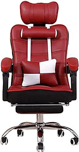 LHMYHJR Gaming Stuhl Bürostuhl Ergonomischer Executive Chair nippt Nickerchenstuhl mit Fußstütze (mit Kopfstütze lumbal Kissen Nackenkissen) High Last Kapazität Schreibtischstuhl-rot-Weiss