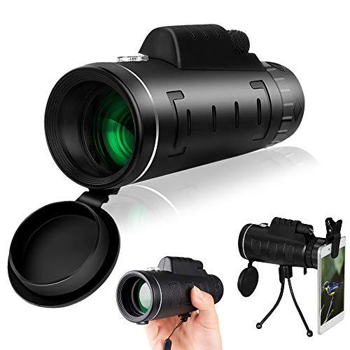 Anself Telescópio monocular de alta potência 40X60 para observação de pássaros com bússola adaptador de smartphone e tripé para observação de pássaros camping