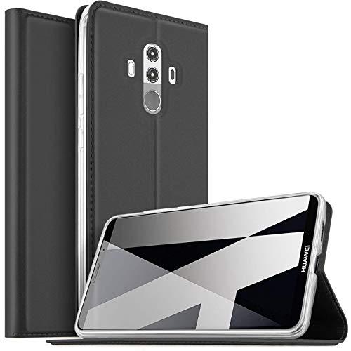 Verco Handyhülle für Mate 10 Pro, Premium Handy Flip Cover für Huawei Mate 10 Pro Hülle [integr. Magnet] Book Hülle PU Leder Tasche, Schwarz
