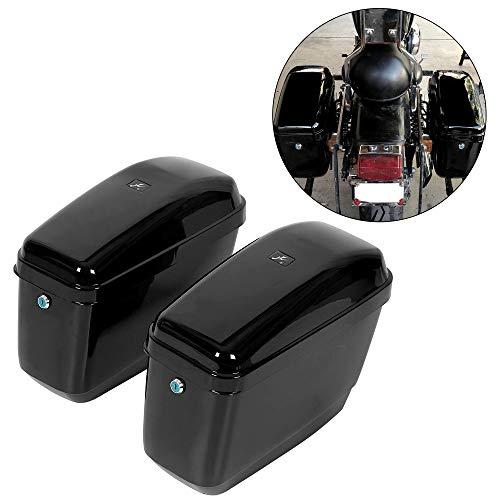 New Hard Saddle bags Saddlebags w/mounting kit Compatible With Honda Shadow Kawasaki Vulcan VN Black