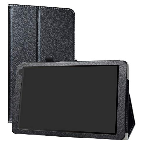 "Alcatel 1T 10inch Funda,LiuShan Folio Soporte PU Cuero con Funda Caso para 10"" Alcatel 1T 8082 10inch(Not fit Alcatel 1T 7 Inch 8068) Android Tablet,Negro"