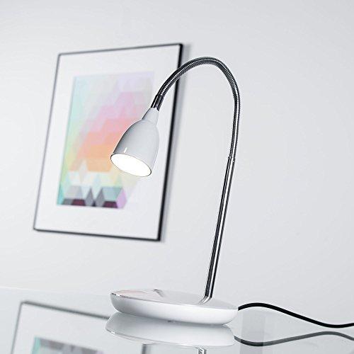 Moderne 3W LED Tischleuchte, Schreibtischleuchte, mit Flexgelenk, 200 Lumen, 3000K warmweiß, Metall/Kunststoff, titan