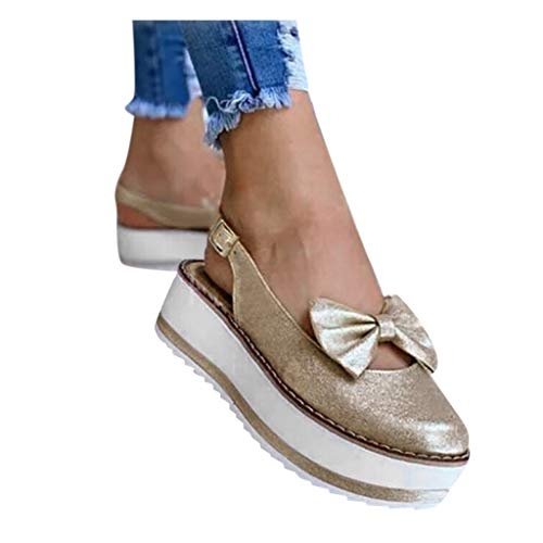 For Sale! kaifongfu Women's Hollow Out Round Toe Flat Platform Sandals Thick Sole Bow Buckle Strap M...