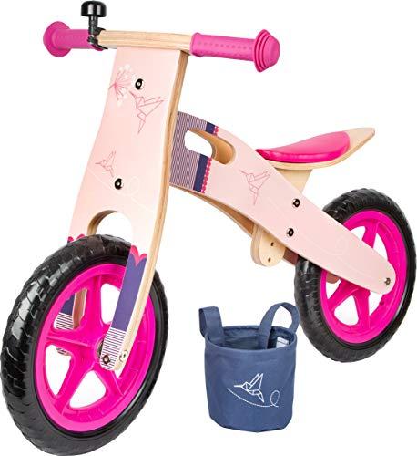 Small foot 11613 Biciclettina Rosa Colibrì, in legno, in un design moderno, con sedile regolabile e pneumatici in gomma, a partire dai 3 anni