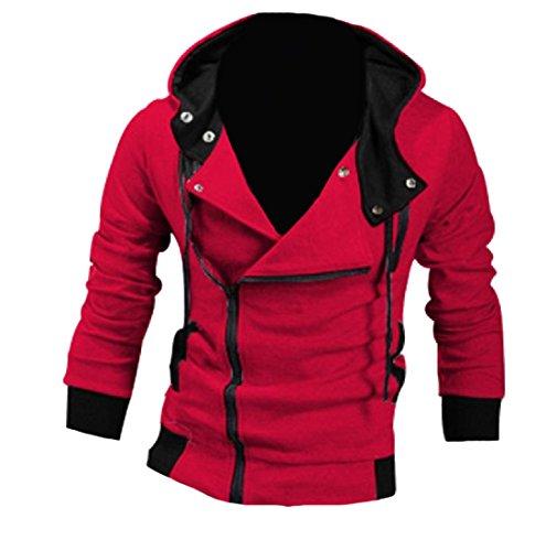 Abetteric Men Oblique Zipper Hooded Jacket Top Slim Casual Sweatshirts 2 L