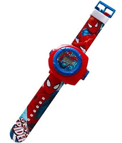 腕時計 プロジェクタ 機能付き 時計 プロジェクション おもちゃ LED 投影ランプ プロジェクター (スパイダーマン レッド)