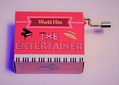 """Spieluhr World Hits / Welthits mit dem bekannten Ragtime """"The Entertainer"""" von Scott Joplin ( Kurbelwerk, Mini-Drehorgel )"""