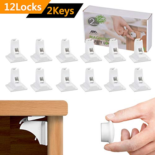 Adoric Magnetic Baby Proofing Safety Locks - 12 Locks with 2 Keys - 3M Adhesive Cabinet Drawer Baby Safety Cabinet Locks - No Drilling or Screws Needed - White