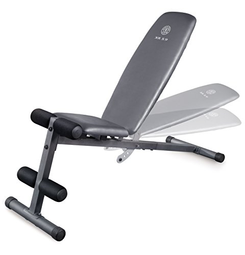 Weider XR 5.9 Adjustable Slant Workout Bench with 4-Roll Leg Lockdown and Exercise Chart