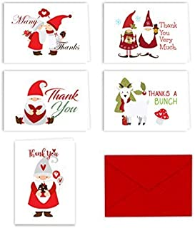Paper Frenzy Christmas Holiday Gnomes Thank You Note Cards and Envelopes - 25 pack