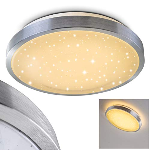 Bad-Lampe Sora Star aus gebürstetem Aluminium – Warmweißes LED-Licht mit 900 Lumen und 12 Watt für die Decke mit Sternendekor – Badezimmer-Beleuchtung im modernen Design
