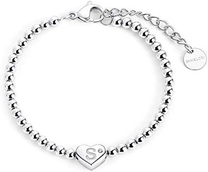 SAM LORI Initial Bead Bracelet Heart Alphabet Letter Engraved Dainty Tiny Monogram Bracelet product image