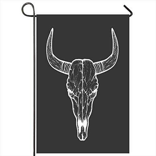 Onete Garden Flag 28x40 Inches Bull Skull Tattoo Horror Symbol Tribal Style Cattle Design Animals West Dotted Wildlife Hand Drawn Outdoor Seasonal Home Decor Welcome House Yard Banner Sign Flags