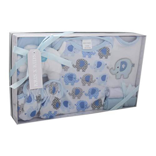 Caja de regalo para recién nacido de 7 piezas, de 0 a 3 meses Disponible en color azul o rosa azul Set azul. Talla:recién nacido