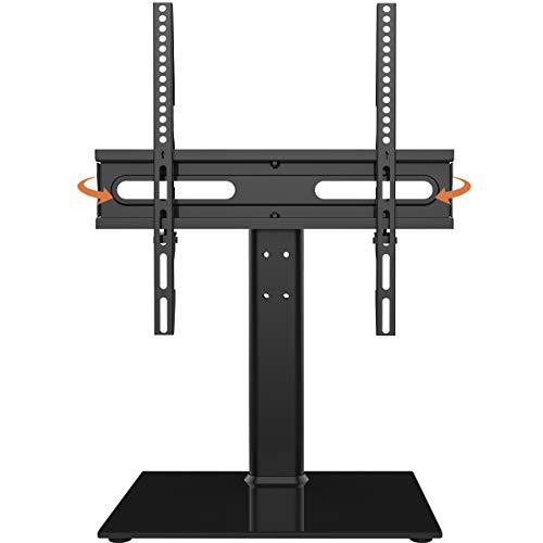 Universal Swivel TV Stand - Table Top TV Stand for 27-55 inch LCD LED TVs - Height Adjustable TV Base Stand with Tempered Glass Base & Wire Management, VESA 400x400mm HT06B-002
