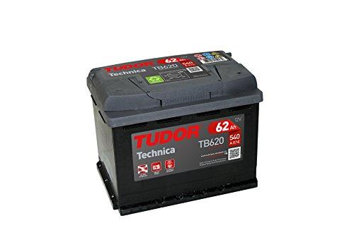Batería para coche Tudor Exide Technica 62Ah, 12V. Dimensiones: 242 x 175 x 190. Borne derecha.
