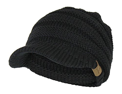 Folie Co. Black Cable Ribbed Knit Beanie Hat w/Visor Brim – Chunky Winter Skully Cap