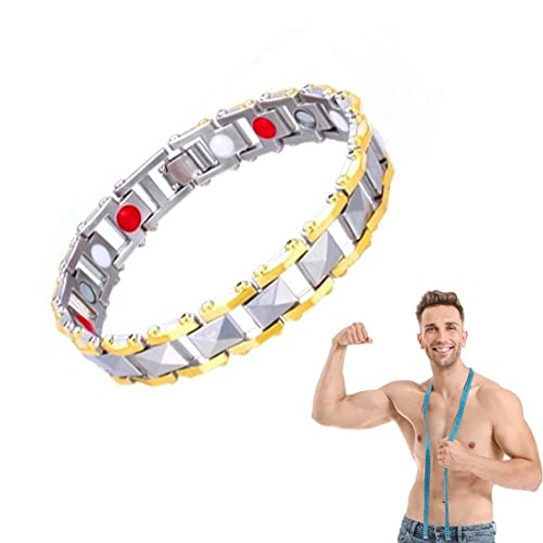DGWG Elegant Magnetic Therapy Fit Plus Bracelet, Slimming Weight Loss Anti-Fatigue Healing Bracelet,Magnetic Masculinity Leather Bracelet (2pc,Sliver Golden)