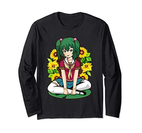 Sunflower Kawaii Summer Anime Girl Sitting On A Lily Flower Manga Larga