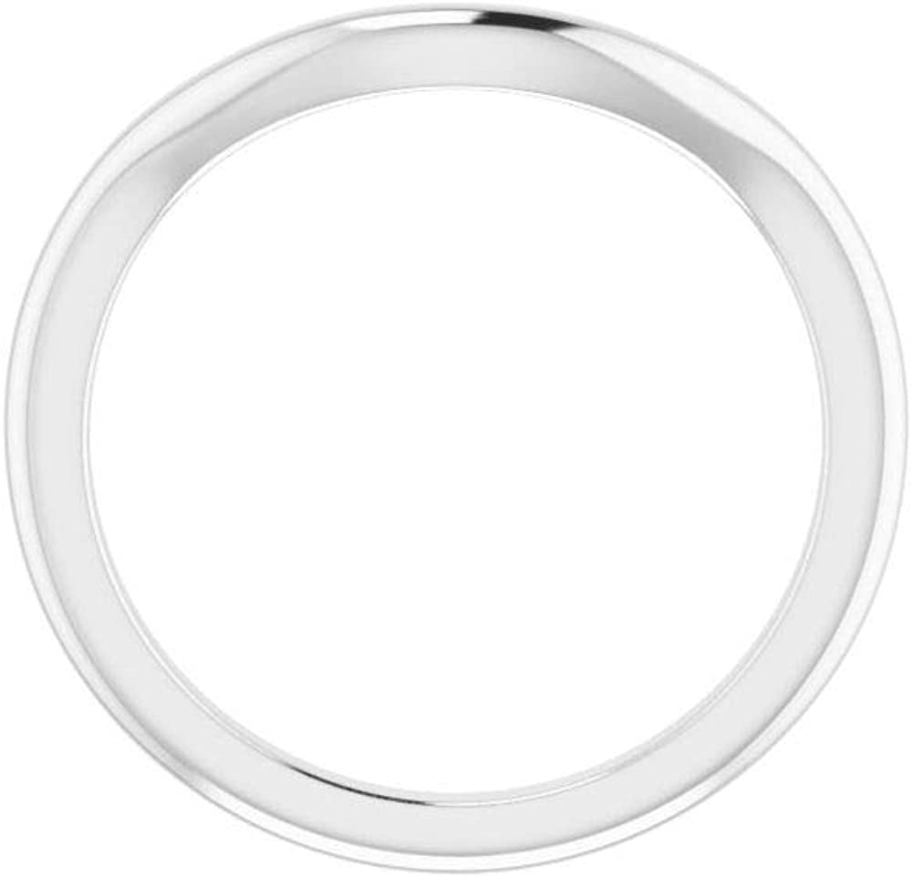 Solid 14K White Gold Curved Notched Wedding Band for 8 x 6mm Emerald Ring Guard Enhancer - Size 7
