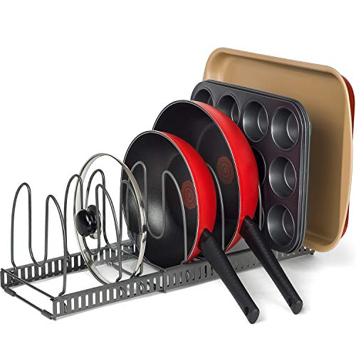 2 Racks with 8 Dividers (8' Large) - Pan & Bakeware Rack, Total 8 Adjustable Compartments, Two...